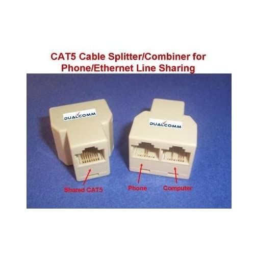 amazon com: dualcomm rj45 / rj11 cable sharing kit - connecting your  ethernet and telephone lines by one network cable: computers & accessories