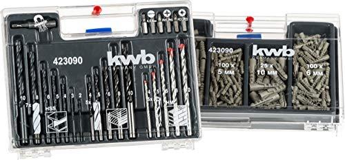 kwb KRAFTIXX 300-tlg. Bit-, Dübel-, Bohrer-, Koffer-Set mit Bits, Holz-Bohrer, Metall-Bohrer & Stein-Bohrer – unterschiedliche Universal-Dübel von 5 – 10 mm