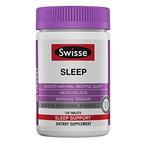 Swisse Ultiboost Sleep Supplement | Herbal Based Bedtime Sleep Aid | Magnesium, Valerian Root, Licorice | 120 Tablets