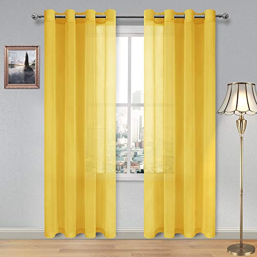DWCN Yellow Faux Linen Sheer Curtains - Grommet Voile Window Curtain Drapes for Bedroom Living Room 52 x 84 inches Long, Set of 2
