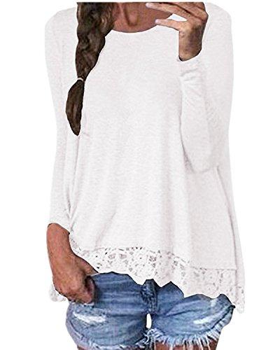 ZANZEA Mujeres Cuello Redondo Mangas Largas Encaje Blusa Camiseta Casual Damas Oficina Elegante Blanco EU 38-40