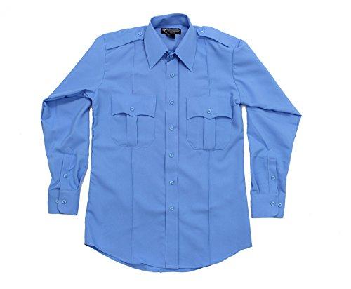 First Class 100% Polyester Long Sleeve Zippered Uniform Shirt LARGE LIGHT BLUE