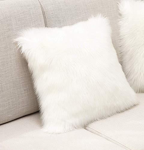 XINYUKEJI Ornamentales Fundas de Almohada Decorativa Cojín Cordero Piel sintética Pelo Largo Almohada de imitación, sofá Cuddly Cojín de (Blanco)