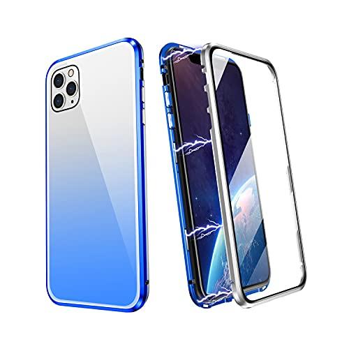 ZHIKE Funda para iPhone 11, Marco de Metal Magnético Frente y Parte Posterior Vidrio Templado Cobertura Pantalla Completa de una Pieza Color Degradado Diseño Antideslizante (Azul-Plata)