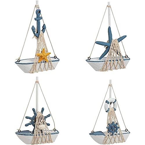 Modello di barca a vela in miniatura, decorazione nautica per la casa (11,2 x 17,3 x 3,2 cm, set da 4 pezzi)
