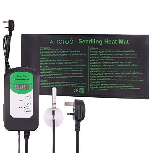 AIICIOO Setzling Heizmatte mit Thermostat Regler - Saatgut Keimung Pflanze Warm Pad mit Temperaturregler