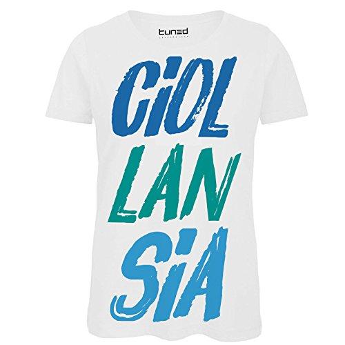 CHEMAGLIETTE! Maglietta Donna T-Shirt Divertente con Stampa Frasi Ironiche Ciollansia Tuned, Colore: Bianco, Taglia: S