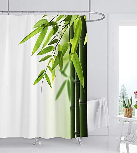 ufengke Duschvorhang Bambus mit 12 Haken Weiß Duschvorhang aus Stoff Polyester Wasserdicht Anti Schimmel für Badezimmer (180X180 cm)