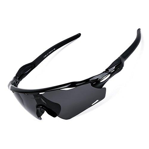 BATFOX Occhiali da Sole Sportivi Anti-UV 400 Protezione Occhiali da Ciclismo Polarizzati con Telaio Leggero Infrangibile TR90 per MTB Moto Bicicletta Pesca Baseball Guida Trekking Casual, Nero e Grigi