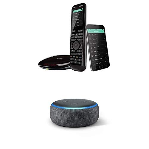 Logitech Harmony Elite Remote Control, Hub und App - Touchscreen Fernbedienung + Echo Dot (3. Gen.) Intelligenter Lautsprecher mit Alexa, Anthrazit Stoff