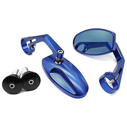YANAN Moto Piede Cavalletto Retrovisore del Motociclo Specchietti Retrovisori Laterali Moto Sport Bike per Cafe Racer Fit 22mm 28mm Manubrio estremità (Color : Blue)