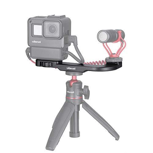 Linghuang Vlog Soporte Cold Shoe Placa de extensión Ajustable para micrófono Mic LED luz vídeo con Tornillo 1/4' para iPhone Samsung Huawei Smartphone Vlogging Accesorios