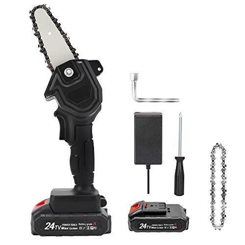 Mini Chainsaw , 4-Inch Cordless Electric Protable Chainsaw One-Hand 0.7kg Lightweight, 24V Portable Handheld Electric Saw, Wood Cutting Pruning Logging for Garden Courtyard Tree and Urban Greening