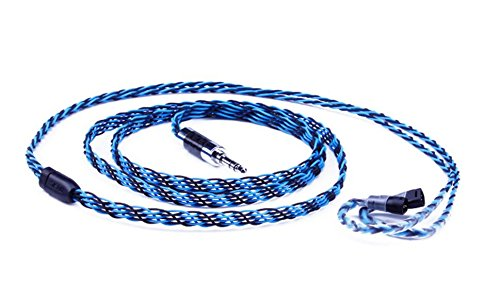 MiCity Replacement Mesh Braid Audio Cable for Sennheiser IE8 IE80 IE8I IE80S Headphones (Black Blue)