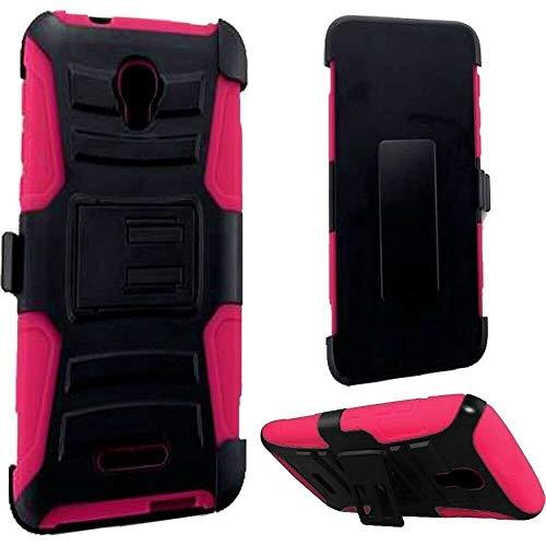 FastSun Clip + Hybrid Hard Cover Case for Alcatel One Touch Allura/Fierce 4 / Pop 4 Plus (Black-Pink)