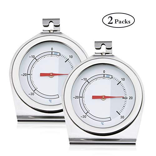 Analoges Thermometer für Kühl- und Gefrierschrank Bestcool 2erTemperaturbereich -30 bis 30°C, Edelstahl Gehäuse, Bimetall Sensor für exakte Ergebnisse