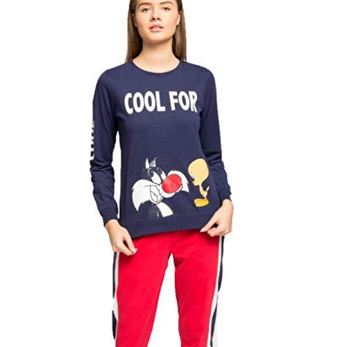 Pijama Mujer Largo algodón Sylvester (XL, Marino