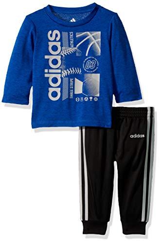 adidas Baby Boys Long Sleeve Cotton Jersey T-Shirt and Jogger Pant Set, Medium Blue, 3 Months