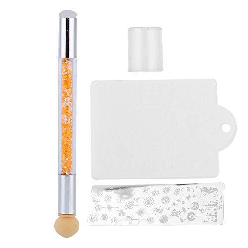 Estampage de la plaque, outil d'impression de stylo de teinture, têtes en éponge de silicone pour estampage de l'acier de 3pcs Nail Art(Strass orange)