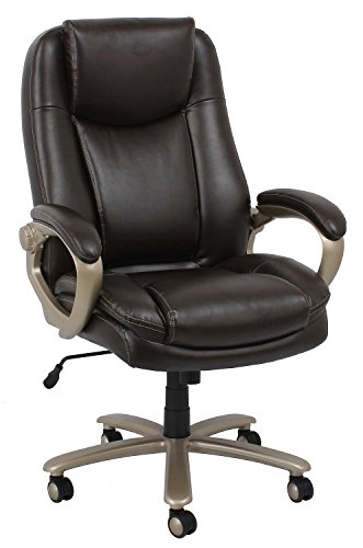 OFM Essentials Collection Big and Tall Leather Executive Office Chair with Arms, in Brown