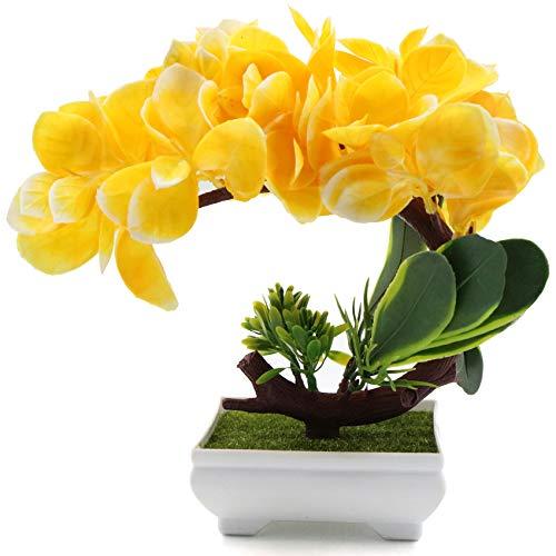 Planta artificial en maceta, flores artificiales bonsái, de plástico, pequeñas plantas decorativas, ideal para oficina, jardín, balcón, decoración de mesa y decoración exterior, regalo