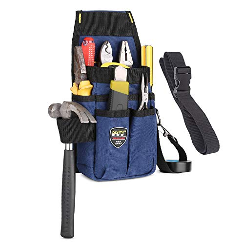 BAIGIO Bolsa de Herramientas con Cinturón de Nailon Ajustable Bolsa para Electricista del Organizador del Sostenedor Bolsillo Porta Herramientas para Cinturón (Azul-Potenciar)