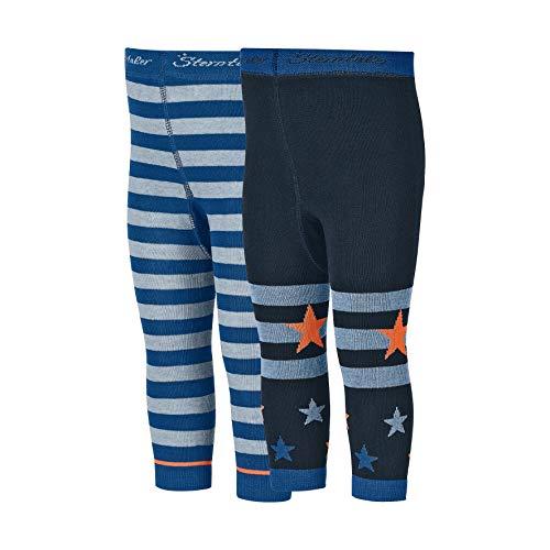 Sterntaler Doppelpack Leggings für Babys, Ringel/Sterne, Blau (Blau 355), 116