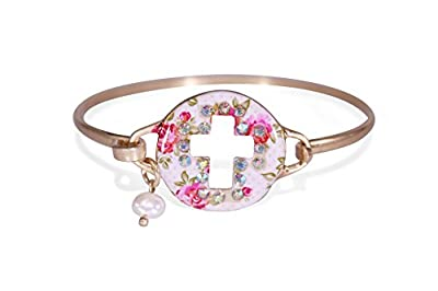 Twinkle Bordered Cross Cutout Floral Disc Christian Bangle Bracelet with Pearl Bead