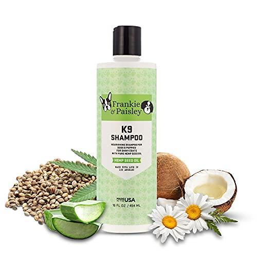 Frankie & Paisley - K9 Dog Shampoo, Nourishing Shampoo with Coconut Oil and Hemp Seed Oil for Pets, Dog Grooming Supplies, 16 fl. oz