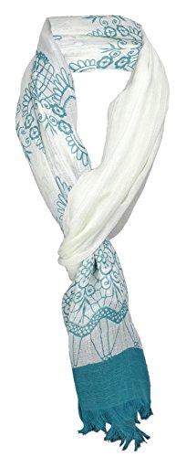 TigerTie sjaal in petrol crèmewit patroon met kleine franjes - 100% modal - maat 180 x 50 cm.