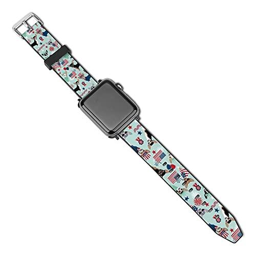 La última correa de reloj de estilo compatible con Apple Watch Band 38 mm 40 mm Correa de repuesto para iWatch Series 5/4/3/2/1, Chihuahua Patriótico 4 de julio Estados Unidos