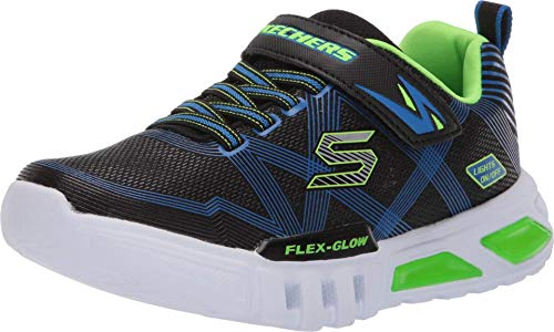 Skechers Flex-Glow, Zapatillas para Niños, Negro (Black Synthetic/Textile/Blue & Lime Trim Bblm), 27.5 EU