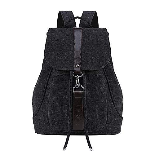 TIBES Rucksäcke für Damen Rucksackhandtaschen Schulranzen Canvas Tasche Schultaschen Daypacks Studententasche, Middle, B Schwarz