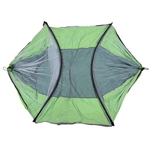 DAUERHAFT Cama Colgante Doble de Hamaca con mosquitera de Cuerda Atada Mejorada, para Acampar al Aire Libre(Dark Green and Fruit Green)