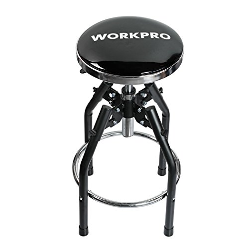WORKPRO Heavy Duty Adjustable Hydraulic Shop Stool Black