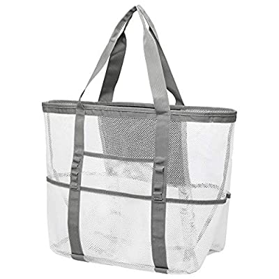 Mesh Beach Bag, F-color Oversized Beach Tote 9 Pockets Beach Toy Bag, Family Lightweight Travel Tote Bag for Women, Beach, Pool, Picnic, White