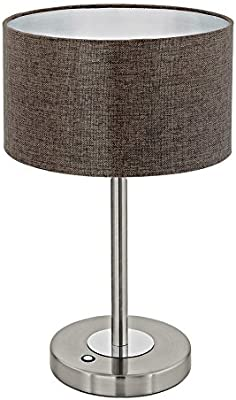Tremont Mid Century Modern Table Lamp Rich Bronze Iron Burlap Fabric Drum Shade For Living Room