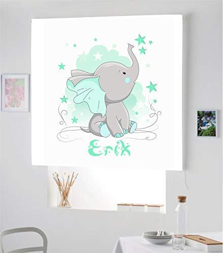 Desconocido Estor Infantil Enrollable TRANSLUCIDO Digital Elefante Erik para Poner TU Nombre¡¡Nuevo Estor Enrollable Infantil con Nombre A Todo Color HABITACION NIÑO (Verde Esmeralda, 140X170)