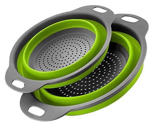 Atashojoe - Colador plegable (2 unidades, silicona, con mango de plástico), flexible y resistente al calor, apto para lavavajillas, para pasta, verduras, frutas