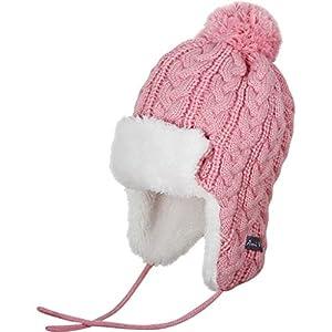 Ami&Li tots Baby Winter Infant Toddler Earflap Fleece Caps Hat Unisex Infant Knit Warm Cotton Cute Crochet Beanie Cap Pink