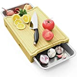 Extra Large Cutting Board,Bamboo Cutting Serving Boards for Kitchen with Juice Groove 2 Piece Stainless Steel Tray and Non-Slip Feet for Chopping, Fruit,Cheese,Vegetables (XXL 16'x12')