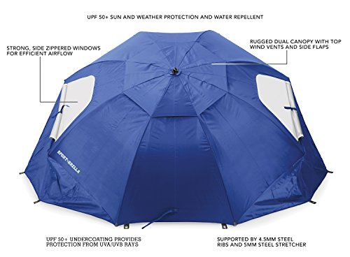 Sport-Brella Sun and Rain Beach Umbrella with Carry Bag, Blue
