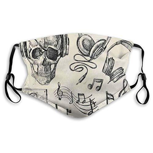 Complete achtergrond Hipster Skull met heapdhones platenspeler microfoon luidspreker afdrukken kunst thema filtratie gezichtsdekking
