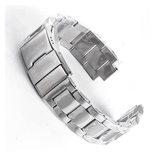 DANFENG 21 mm de Calidad de Acero Inoxidable Reloj de Reloj de Reloj de Reloj de Reloj Plegable for longines 41mm HydroconQuest L3.742 782 Silver Solid Strap (Band Width : 21mm)