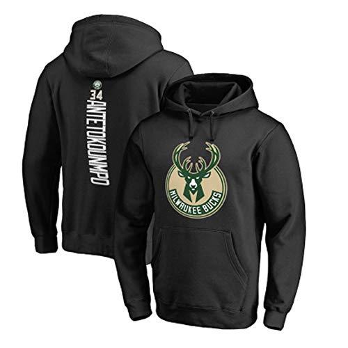 Sudadera de baloncesto para hombre, Bucks# 34 Antetokounmpo Jersey con capucha Jersey Holgada Hip Hop Sudadera, Gris (S~3XL)
