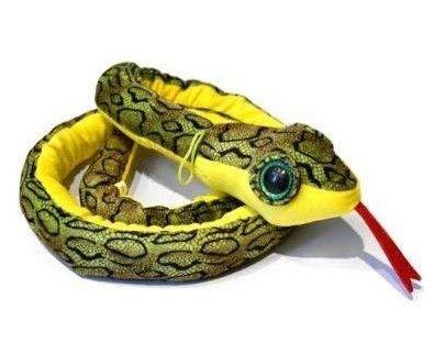 Peluche Serpiente camuflaje color verde ojos brillantes