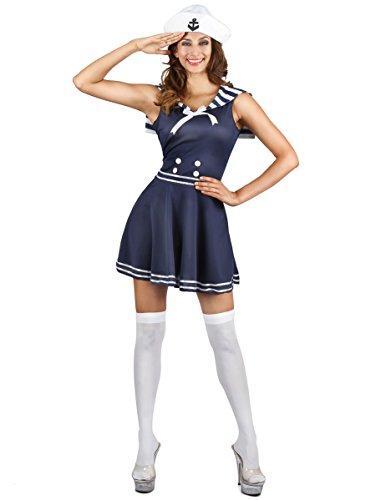 Generique Süsses Matrosen-Kostüm für Damen Seefahrerin Blau-Weiss XS