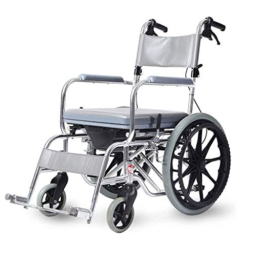 Bath Chair For The Disabled Push The Scooter Small Wheel Folding Portable Aluminum Alloy For The Elderly With Toilet Walker (Color : Dark gray)
