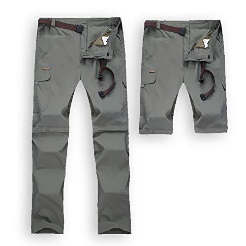 JIANYE Wanderhose Herren Damen Zip Off Wasserdicht Schnelltrocknend Outdoorhose Entfernbar Funktionshose mit Gürtel Grau M (Herstellergröße: 2XL)
