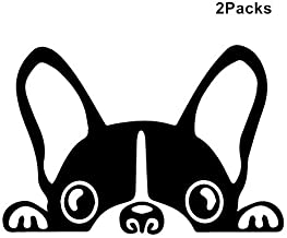 Doran Boston Terrier Peeking Dog/Pet Sticker Decal Vinyl Car Window Wall Sticker Laptop Decal Cute Funny Peep Animal Decorative Stickers(2 Packs) (Black)